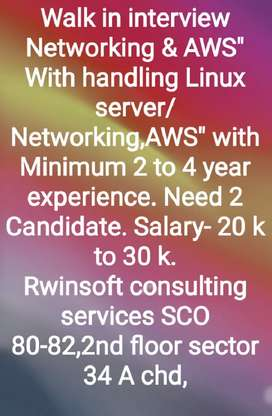 "Linux Server Admin & Networking"" with minimum 1 to 3 years experience"