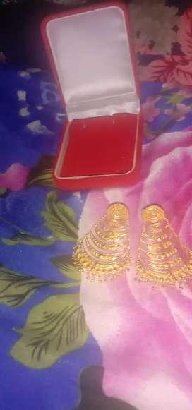 One gram gold polish ear ring