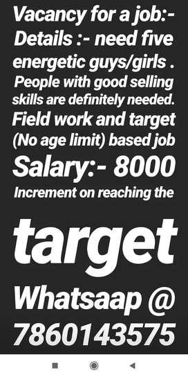 Salesperson are needed
