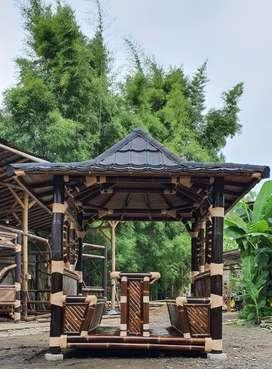 Saung gazebo artistik bambu, jati belanda dan kayu lainnya