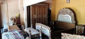 Set kamar tidur full kayu jati, finis gold, free ongkir
