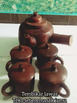 Terakota lawas KENDI / TEKO SET tembikar pajangan koleksi langka antik