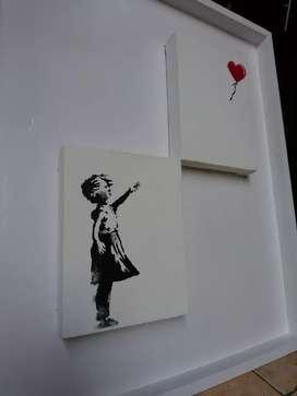 Lukisan Repro Banksy Girl with ballon