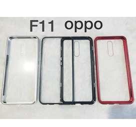 Case Oppo F11 Case Magnetic Tempered Glass Back DanMetal Frame Premium