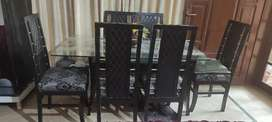 Double glass dining table with 6 chairs