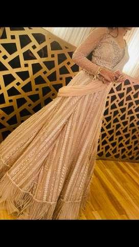 Saree drape gopden nude gown