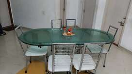 Royal Glass Dining table with 6 Chairs