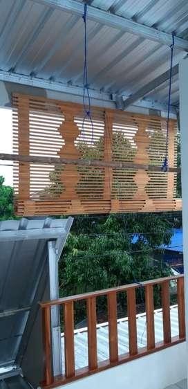 Dekorasi teras,tirai bambu,rotan dan kayu motif
