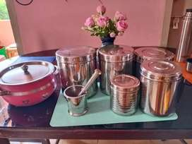 Steel containers and plastic containers
