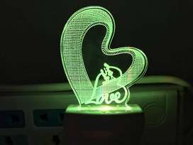 3D Love Heart Acrylic Night Lamp with 7 Color Changing Light (Size 4 I