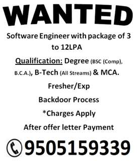 Wanted Software Developer fresher/Experinc