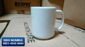 Mug Cangkir Keramik Polos Promosi Sablon Emboss Hadiah