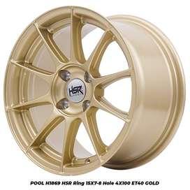 velg mobil jazz POOL 1869 HSR R15X7/8 H4x100 ET40 GOLD