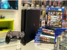 Sony playstation 4 console with games and controller