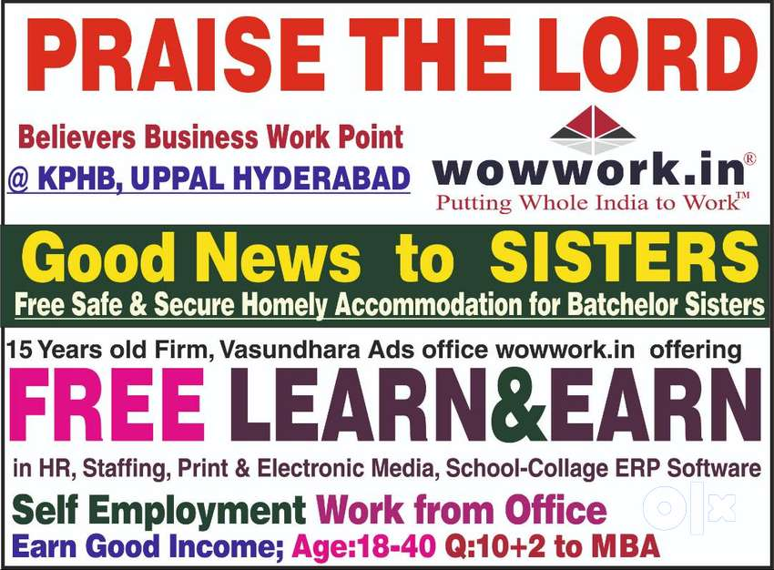 Free Accommodation+Learn+Earn+only for ladies: Good Income+@kukatpally 0