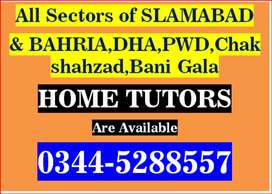 All sectors of Islamabad (Experienced Male/Female Tutors are available