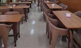 Chairs (plastic) and Tables (wooden)