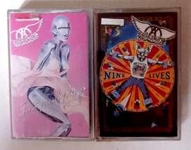 Kaset  ori segel AEROSMITH paket 2 album: JUST PUSH PLAY & NINE LIVES