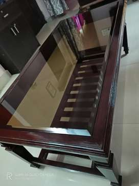 Diamond cut edge glass pure sagon centre table only 2 month old