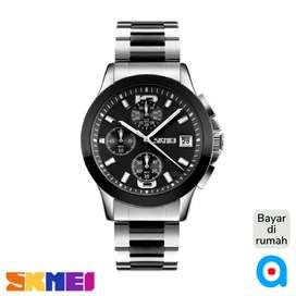 Jam tangan analog pria stainless steel warna kombinasi ab9126 blck