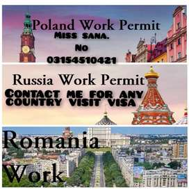 Poland.Russia.Romania work permit and visit Visa available