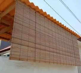 Kerey kayu polos tabir tampias hujan 23