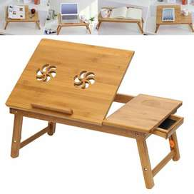 Bamboo Wooden Laptop Desk Serving with Drawer, 2 x Cooling Fan