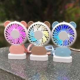Mini Fan Karakter Bear & Bunny Kipas angin With Lampu LED