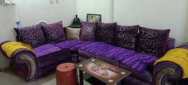L shaped Sofa set and dining table with 4 chairs on sell