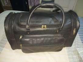 Leather Travel bag black color