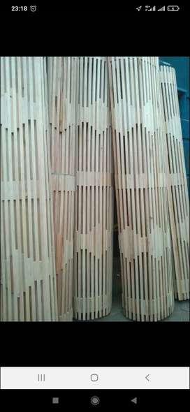 Tirai bambu, rotan enao dan kayu