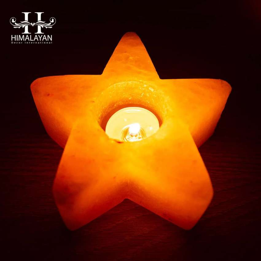 Himalayan Salt Candle Holder Star Shape with Stand Pack of 2 0