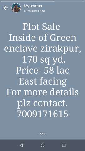 Green Enclave,lohagarh road zirakpur East facing.