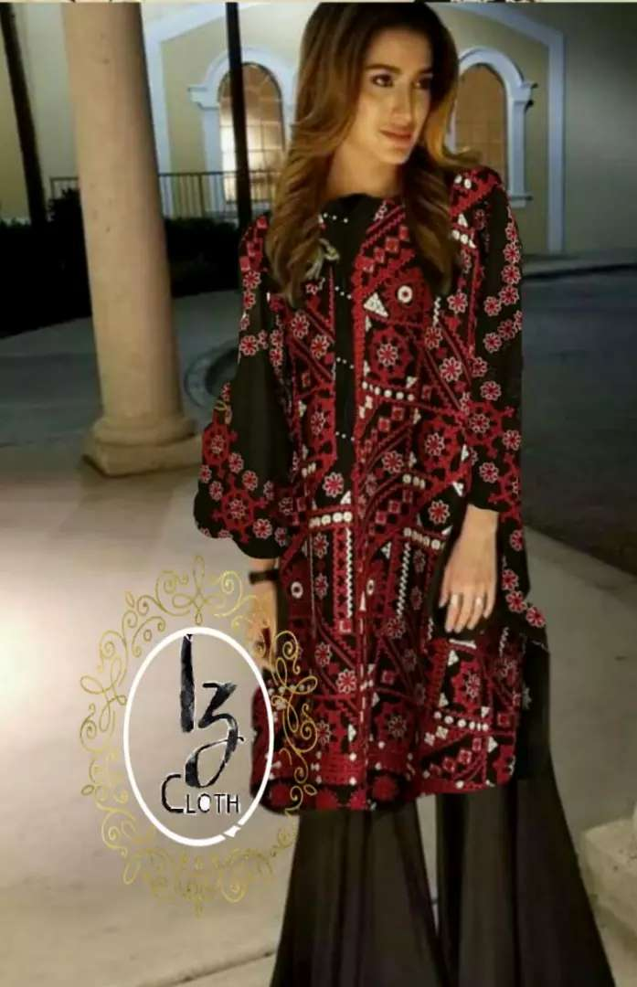 Ladies chiffon embroidered party wear suit 0