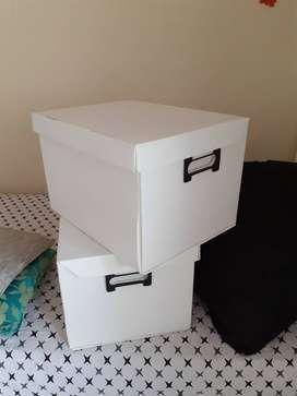 Two storage boxes