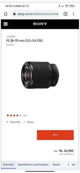 Sony 28-70 mm E mount full frame lense