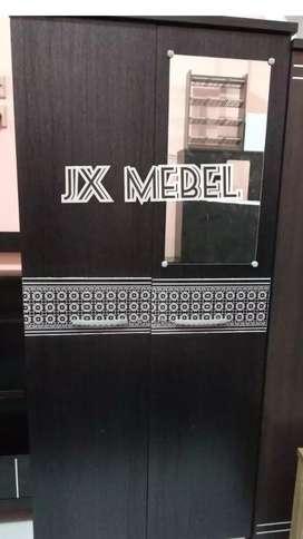 JX MEBEL Lemari Pakaian 2 Pintu Kaca Minimalis