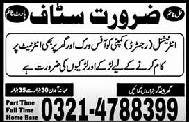Required Staff For Office Management and Online Working
