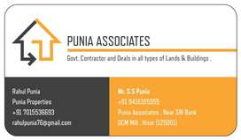 For Purchase or Sale of any kind of Land Contact Punia Properties .