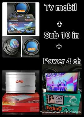 """Paket audio sound 10 in bass + power 4ch + TV mobil 7"""" no dvd USB mp4"""