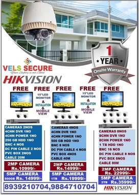 "2MP CCTV HD CAMERA HIKVISIONWHOLESALE FREE 15"" LED MONITOR & FULL SET"