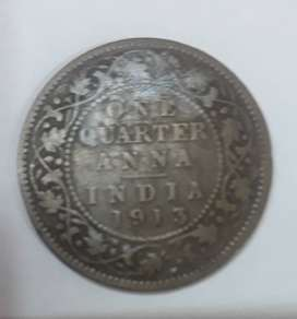 Very old quater anna coin of British India