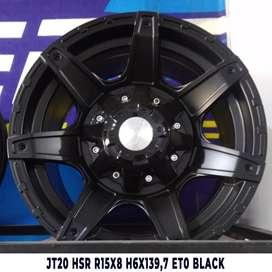 velg racing murah JT20 HSR R15X8 H6X139,7 ET0 BLACK
