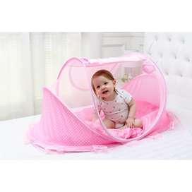 Kelambu Bayi Pink Tempat Tidur Anak Kasur Bantal Box Lipat 3in1
