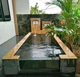 Pelengkap kolam ikan.saung  rumput pohon