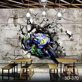 Wallpaper Custom 3D Cafe Motif Motor Balap