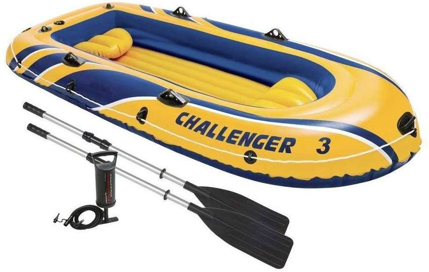 Intex Challenger 3 Inflatable Boat Set With Pump 0