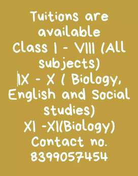 Tuitions are available