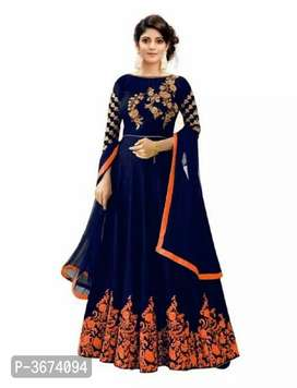 Stylish Silk Embroidered Semi Stitched Gowns