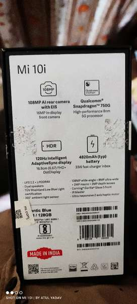 mi 10i skyblue 6+128 ultimate 5G phone only exchange